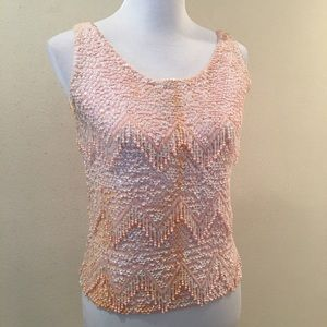 W's Vintage Beaded & Sequin Sleeveless Sweater.
